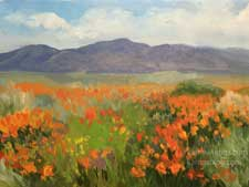 A Passion for Poppies miniature California poppy wildflower oil painting Lancaster