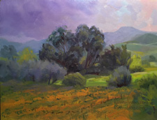 After the Crush oil painting Vineyard with eucalyptus