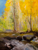 Along Bishop Creek miniature oil painting 6 x 8 inches aspens gold stream water
