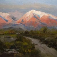 Alpenglow at Bishop - Eastern Sierra oil painting miniature