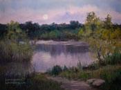 Arroyo Moonrise - Hahamongna Park, Arroyo Seco, Pasadena, California oil painting
