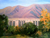 Autumn at Colorado Street Bridge oil painting Pasadena
