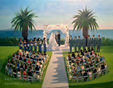 Bel Air Bay Club Live Event wedding painting Karen Winters Pacific Palisades
