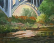 Below the Arroyo Seco Bridge - Pasadena Colorado Street Bridge landscape impressionist oil painting