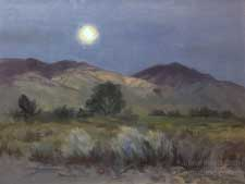 Bishop Moonrise Eastern Sierra White Mountains art oil painting California impressionist for sale