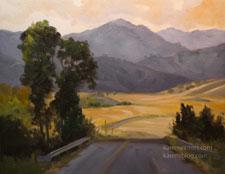 California Backroads oil painting Central Coast Nacimiento Ferguson Road Jolon Hunter Liggett, tonalist, impressionist landscape karen Winters