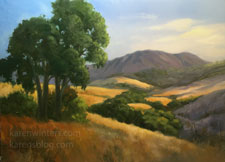 California golden hills and oaks oil painting