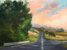 California Road Trip Oaks Backroad Sunset Landscape impressionist oil painting 12 x 16