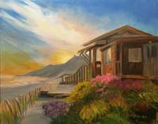 Cottage at the Cove Crystal Cove Cottage plein air style oil painting