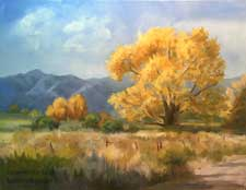 Cottonwood Breeze Autumn Eastern Sierra Oil Painting Owens Valley fall color