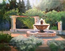 Descanso Mission Garden Fountain oil painting