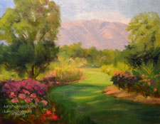 Descanso Gardens Rosarium oil painting