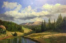 Colorado landscape Rule Creek Divide CO impressionist oil painting horses mountains river