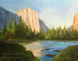 El Capitan Summer Yosemite 9 x 12 oil painting art plein air style impressionist