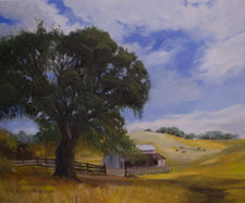 Gold Rush Country Ranch - rolling hills on highway 49 near Murphys California oil painting