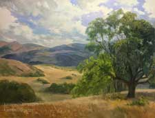 Golden California Afternoon Rolling Hills and Oaks art oil painting impressionist