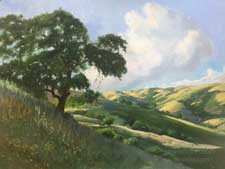 Golden Hills of Home California oak rolling hills oil painting