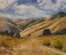 Golden Trails - California impressionist rolling golden hills Central Coast oaks impressionist fine art for sale