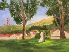 Wedding painting Cavallo Point Sausalito Calif.