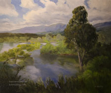 High Water at Devil's Gate Dam Pasadena Hahamongna Park oil painting art for sale