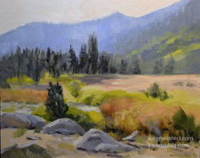 Hope Valley Morning Picketts Crossing Landscape Carson River oil painting