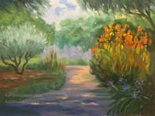 In the Butterfly Garden LA Arboretum oil painting