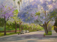 Jacaranda June South Pasadena Cityscape oil painting 9 x 12 inches impressionist