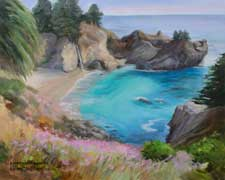 Julia Pfeiffer Beach Big Sur McWay Falls seascape oil painting