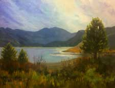 June Lake Beach oil painting Eastern Sierra