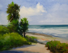 La Jolla Palms oil painting seascape beach waves California impressionist plein air style art for sale