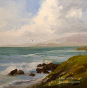 Moonstone Beach Cambria 6 x 6 inch oil painting