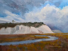 Newport Back Bay Bluff wetlands oil painting