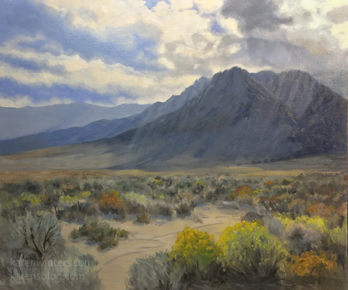 November Bloom Eastern Sierra Lone Pine mountains oil painting California art