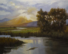Owens River Sunset Benton Crossing Cottonwoods oil painting