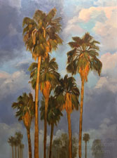 Palms of Dawn - California Fan Palms sunrise dramatic clouds oil painting