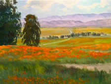 Poppy field panorama oil painting 9 x 12 lancaster california