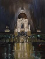 Rainfall at Pasadena City Hall 12 x 16 inches