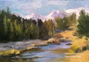 Rock Creek Eastern Sierra miniature oil painting 5 x 7 inches art for sale