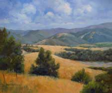 Rolling and Golden California landscape central coast hills oil painting 20 x 24 fine art for sale