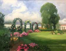 Rose Garden Arches Huntington Gardens oil painting