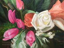 Roses and tulips bouquet still life oil painting white rose pink tulip art impressionist for sale contemporary impressionist