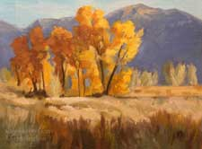 Round Valley Bishop cottonwoods fall color eastern sierra miniature lansdcape oil painting art