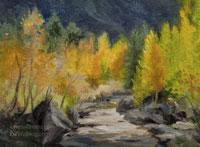 Running Free Bishop Creek oil painting miniature aspen stream sierra art for sale landscape