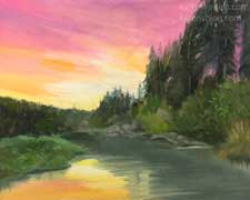 Russian River Sunset 8 x 10 painting