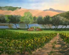 San Luis Obispo vineyard wedding live event painting by Karen Winters