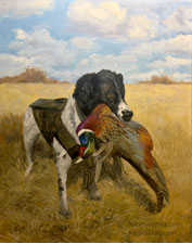 English springer spaniel hunting dog with pheasant pet portrait oil painting