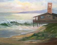 San Clemente Beach Clock Tower Lifeguard Station oil painting
