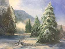 Sparkling Moment Yosemite Snow Fir Tree plein air style oil painting for sale