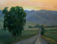 Sunset Backroad - Central California landscape oil painting