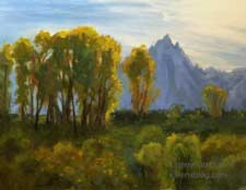 Grand Teton sunset sunshine landscape oil painting